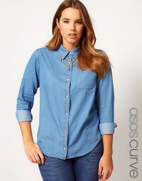 Image 1 ofASOS CURVE Denim Shirt