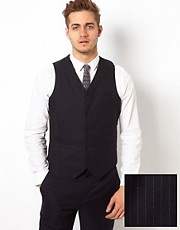 ASOS Slim Fit Vest in Pinstripe
