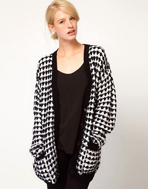 Image 1 ofASOS Textured Pattern Boyfriend Cardigan