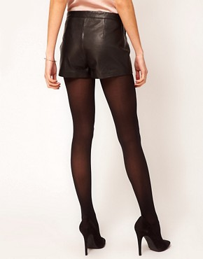 Image 2 ofWarehouse Leather Zip Shorts