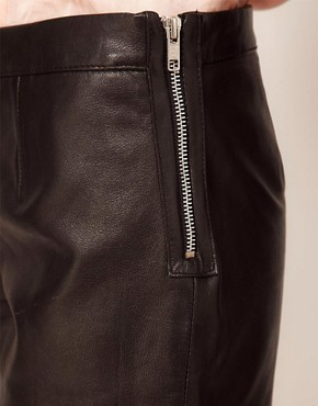Image 3 ofWarehouse Leather Zip Shorts