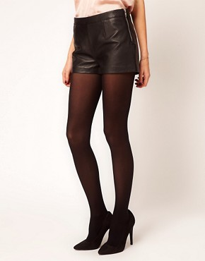 Image 4 ofWarehouse Leather Zip Shorts
