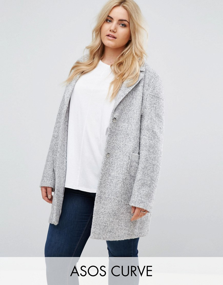 ASOS CURVE Fabric Interest Cocoon Coat - Grey