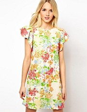 ASOS Shift Dress in Floral Print with Frill Sleeves