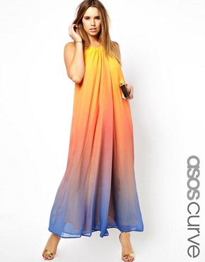 Image 1 of ASOS CURVE Rainbow Maxi Dress With Necklace Trim