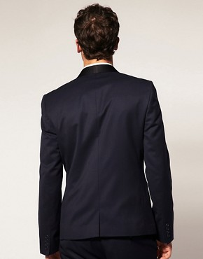 Image 2 ofASOS Slim Fit Navy Tuxedo Suit Jacket