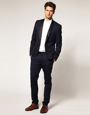 Image 4 ofASOS Slim Fit Navy Tuxedo Suit Jacket