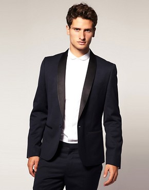 Image 1 ofASOS Slim Fit Navy Tuxedo Suit Jacket