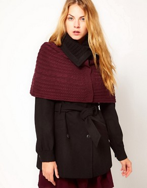 Image 1 ofVila Cable Knit Collar &amp; Attached Shawl Coat