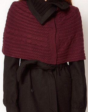 Image 3 ofVila Cable Knit Collar &amp; Attached Shawl Coat