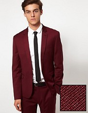 ASOS Skinny Fit Suit Jacket in Burgundy Polywool