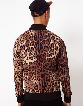 Image 2 ofJoyrich Reversible Bomber Jacket With Leopard Print