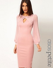 ASOS PETITE Exclusive Pencil Dress With Twist Chiffon Detail