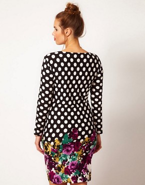 Image 2 ofASOS CURVE Bodycon in Spot &amp; Floral