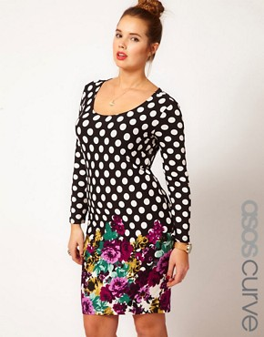 Image 1 ofASOS CURVE Bodycon in Spot &amp; Floral