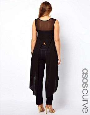 Image 1 ofASOS CURVE Exclusive Dip Back Top With Mesh