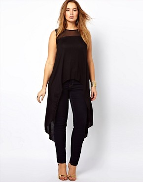 Image 2 ofASOS CURVE Exclusive Dip Back Top With Mesh