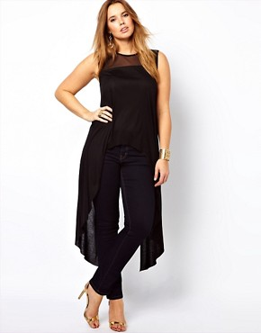 Image 4 ofASOS CURVE Exclusive Dip Back Top With Mesh