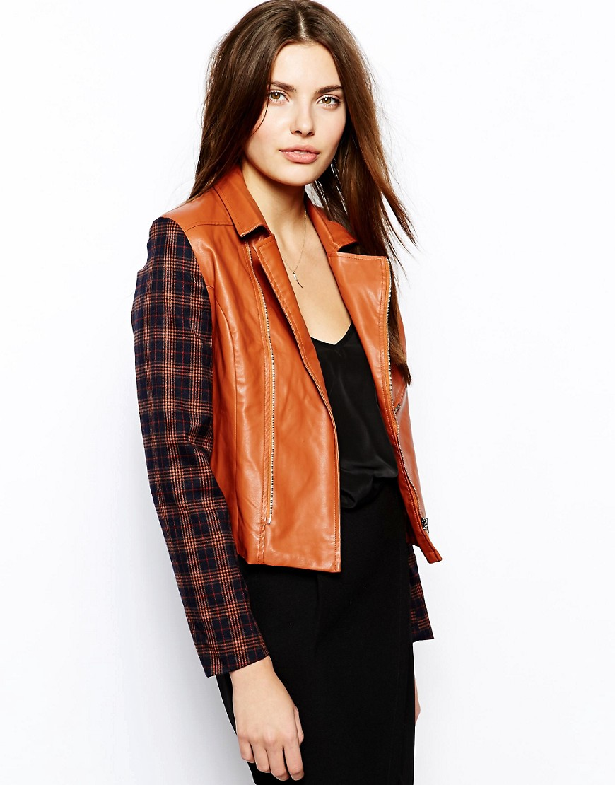 Lavish Alice Biker Jacket with Check Sleeves - Tan