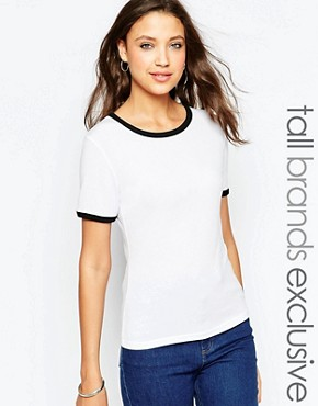 New Look Tall Crew Neck Tee with Contrast Binding