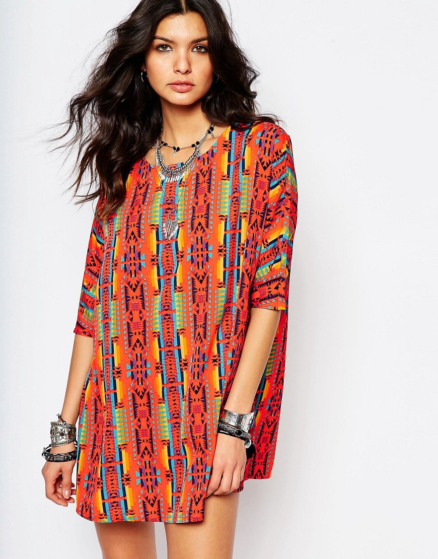 Noisy May Festival Print Tunic Dress - Multi