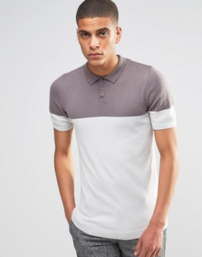 ASOS Muscle Fit Knitted Polo in Colour Block