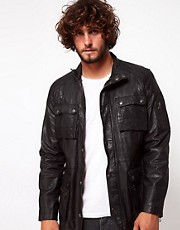 ASOS Leather Jacket With 4 Pocket Styling