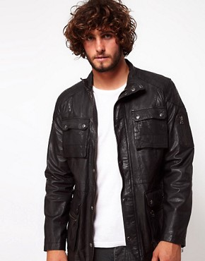 Image 1 ofASOS Leather Jacket With 4 Pocket Styling
