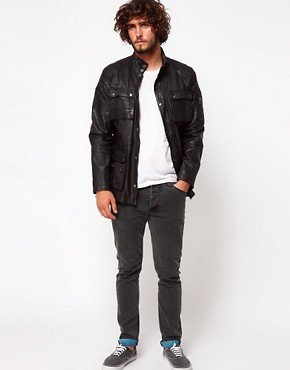 Image 4 ofASOS Leather Jacket With 4 Pocket Styling