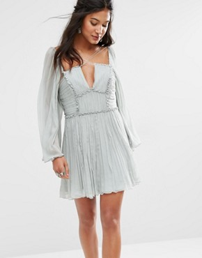 Free People Aquarius Dress with Pleats and Strapping Detail