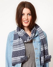 Alice Hannah Angora &amp; Lambswool Blend Stripe Scarf With Pearl
