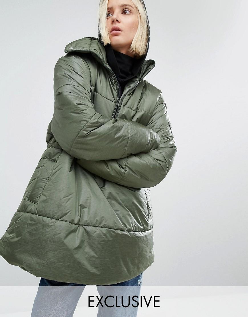 Puffa - Oversize-Jacke zum Über-den-Kopf-ziehen mit halbem Reißverschluss - Grün - Farbe:Grün