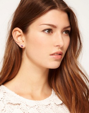 Image 2 ofLove Crystal Pink Gem Earring Trio Set