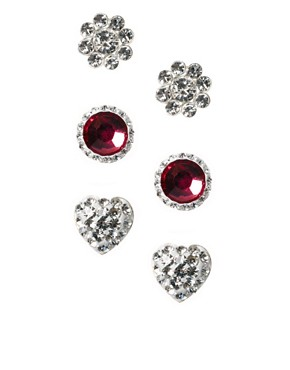Image 1 ofLove Crystal Pink Gem Earring Trio Set