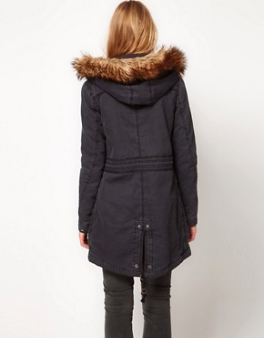 Image 2 of Hilfiger Denim Parka With Detachable Hood And Faux Fur