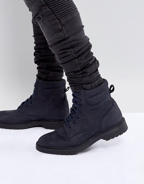 ASOS Lace Up Boots In Navy Leather With Cuff And Ribbed Sole