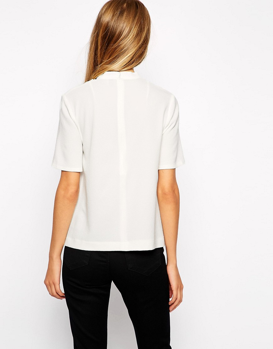 Image 2 of ASOS High Neck top with Twist Detail