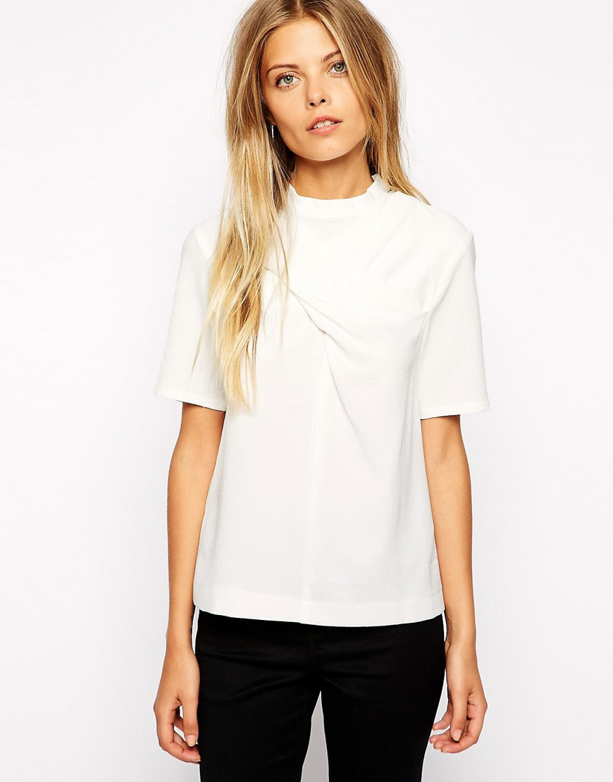 Image 1 of ASOS High Neck top with Twist Detail