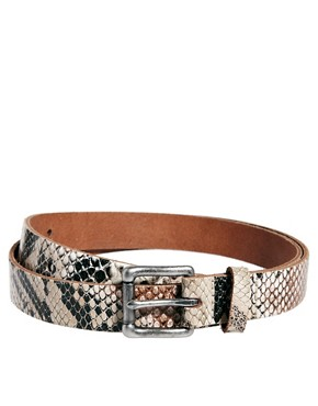 Image 1 ofASOS Snake Print Leather Belt