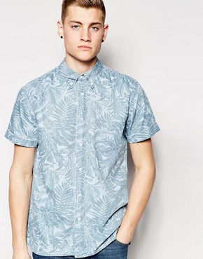 Hoxton Denim Shirt Palm Leaf Print Short Sleeves