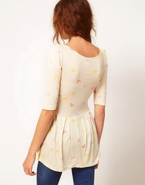 Image 2 ofVero Moda Peplum Top With Butterfly Print