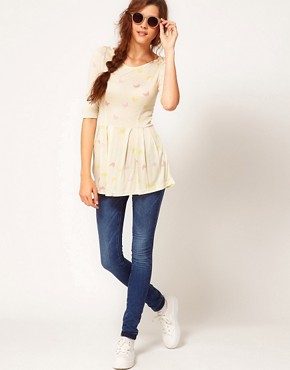 Image 4 ofVero Moda Peplum Top With Butterfly Print