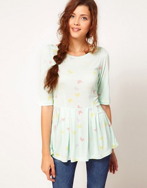 Image 1 ofVero Moda Peplum Top With Butterfly Print