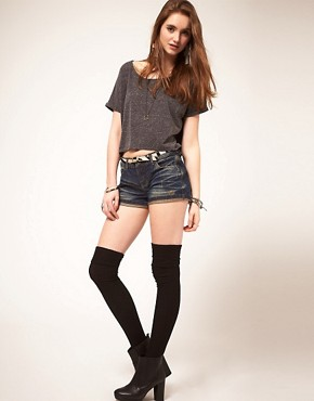 Image 1 ofASOS Vintage Indigo Denim Hotpants