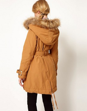 Image 2 ofWrangler Heavy Raincoat With Faux Fur Trimmed Hood