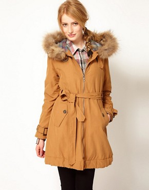 Image 1 ofWrangler Heavy Raincoat With Faux Fur Trimmed Hood
