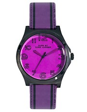 Reloj de cuero violeta con detalle de pespuntes de Marc by Marc