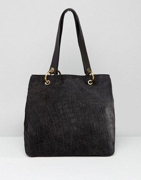 ASOS Croc Embossed Suede Shopper With 4 Ring Detail