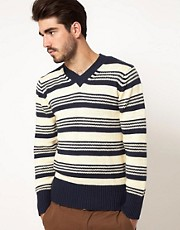 Gant Rugger V Neck Patterned Jumper