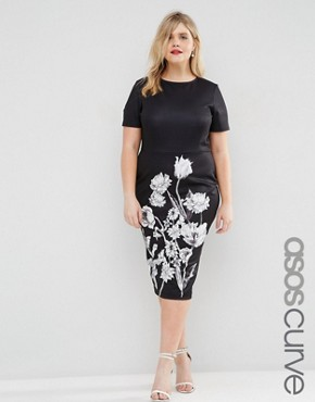 ASOS CURVE Mono Floral T-Shirt Dress